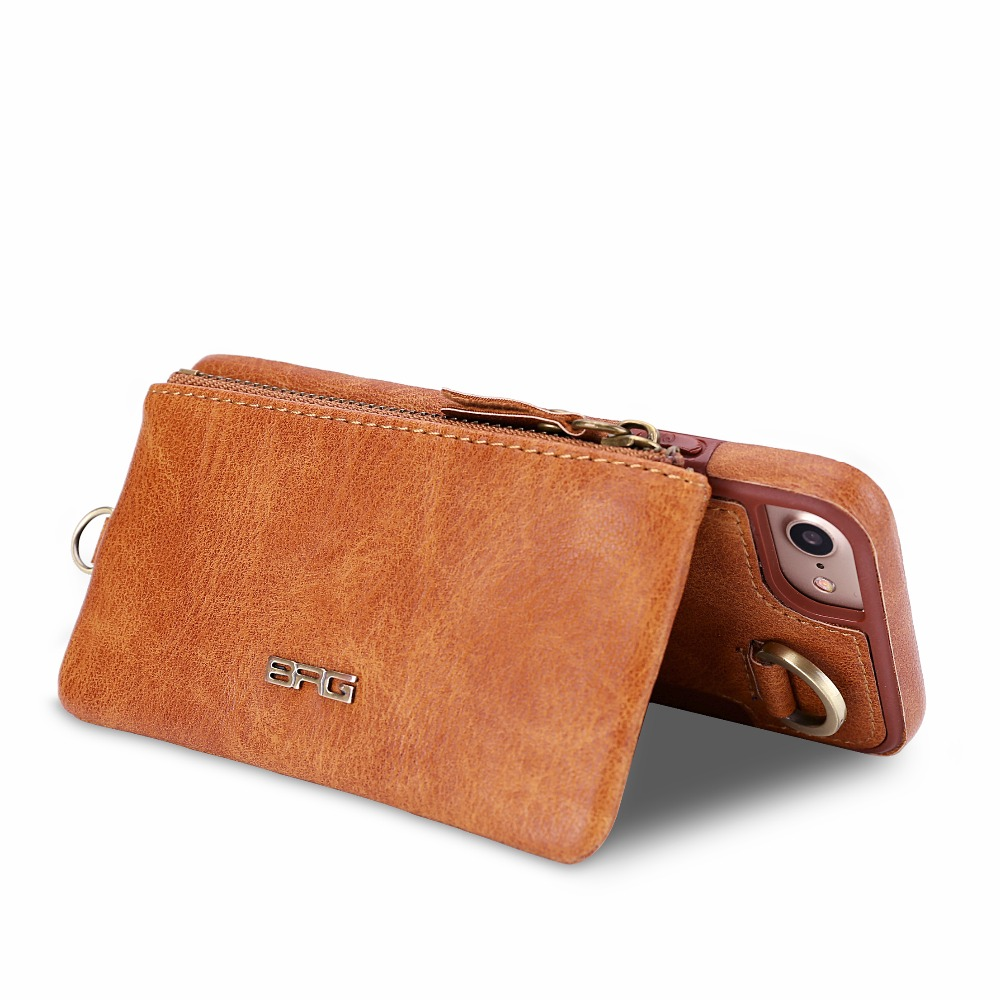 Luxury 2 in 1 Hybrid Leather Phone Cases for <font><b>iPhone</b></font> 7 6 6S Mini Purse Wallet Kickstand Card Slot Buckle Cover for <font><b>iPhone</b></font> 7 Plus