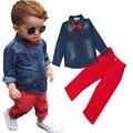 2016 Nueva Ropa de Moda Para Niños Bebés del Otoño del Resorte Establece Niños de Manga Larga Denim bowknot camiseta + pantalón rojo 2 unids