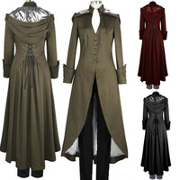Women Steampunk Vintage Maxi Trench Victorian Costume Black Long Slim Fit Hooded Robe Coat for Lady 4XL Plus Size