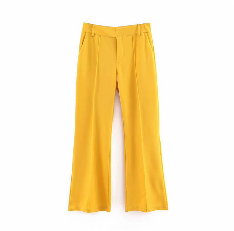 Women Twill   Wide     Leg     Pants   Zipper Design European Style Female Vintage 2019 Casual Yellow Trousers High Waist Pantalones