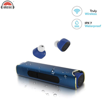 OKCSC Waterproof Bluetooth Earphone Wireless Magnetic Twins Stereo Headset For iPhone 7 xiaomi With Power Bank