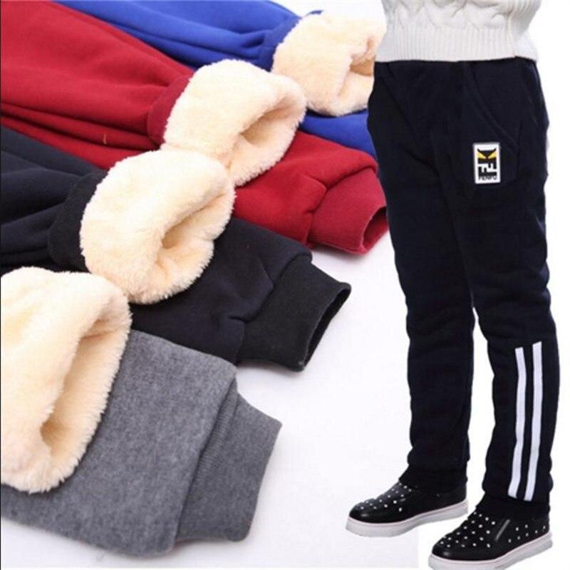 Boys Plus Velvet Pants Children's Sports Pants Winter 2019 New Big Boy Boy Trousers Thick Warm To Wear Outside