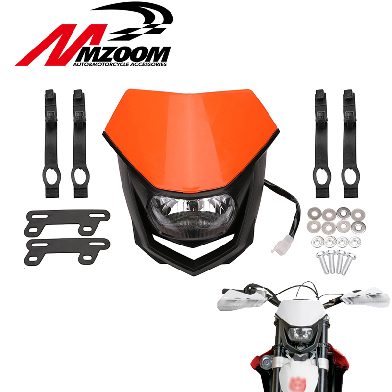 Motorcycle White Black orange Universal Head font b Lamp b font Lighting Enduro Dual Sport Dirt