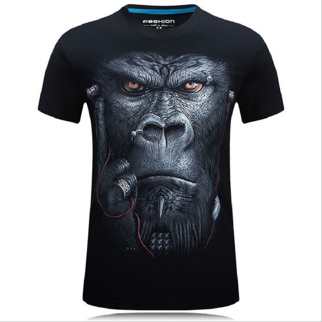 2017 summer Men's animal T-Shirt orangutan/gas monkey/Wolf 3D Printed T-Shirts Men Funny tees tops tee shirt large size 2