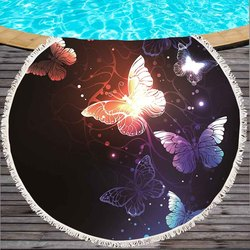 Butterfly Printed Large Round Beach Towel for Adult Microfiber Summer Soft Bath Towel Yoga Mat 150cm Blanket Absorbent Tapestry
