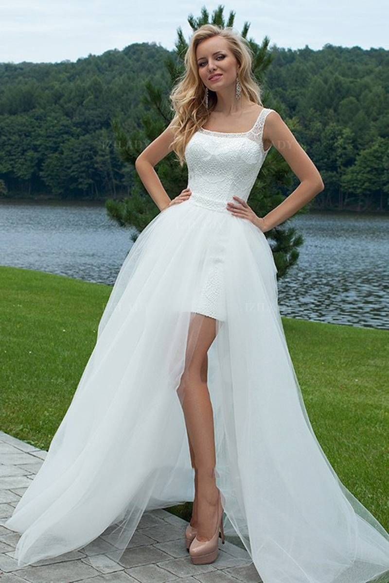 Elegant sexy white ivory lace tulle wedding dress sheath for Sexy classy wedding dress