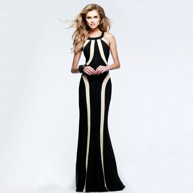US $27.24 |Summer Style O Neck Sleeveless Floor Length Party Dresses Black  White Patchwork Plus Size Dress Show your Nice Body Long Dress-in Dresses  ...