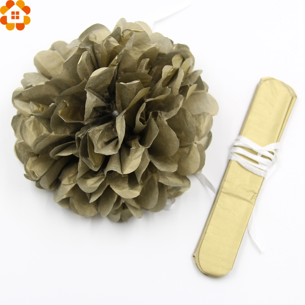5pcs Diy Goldsliver Paper Pompoms Tissue Paper Pompom Paper Flowers