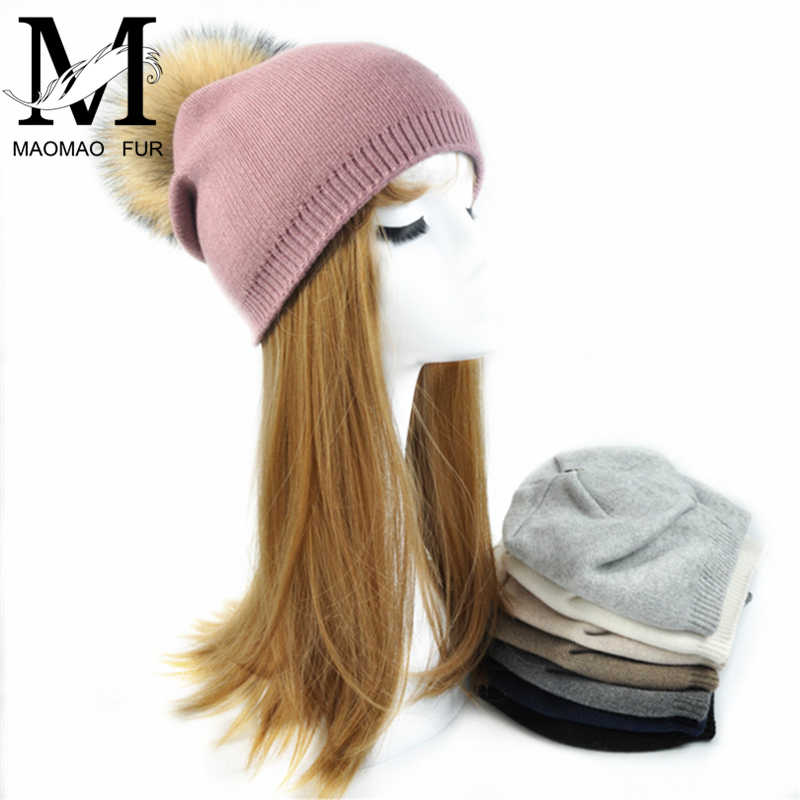 8a8f4a0828a ... Women Spring Wool Real Fur Pom Pom Hats Female Natural Raccoon Fur  Beanie Hat Winter Cashmere ...