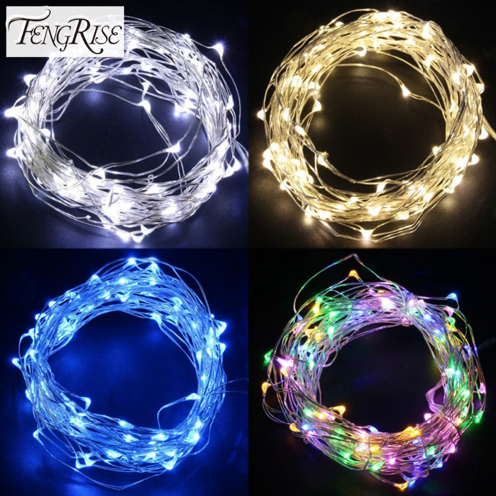 FENGRISE 2 5M Led Copper Wire String Lights Romatic Wedding Fairy Lights Decoration AA Battery ...