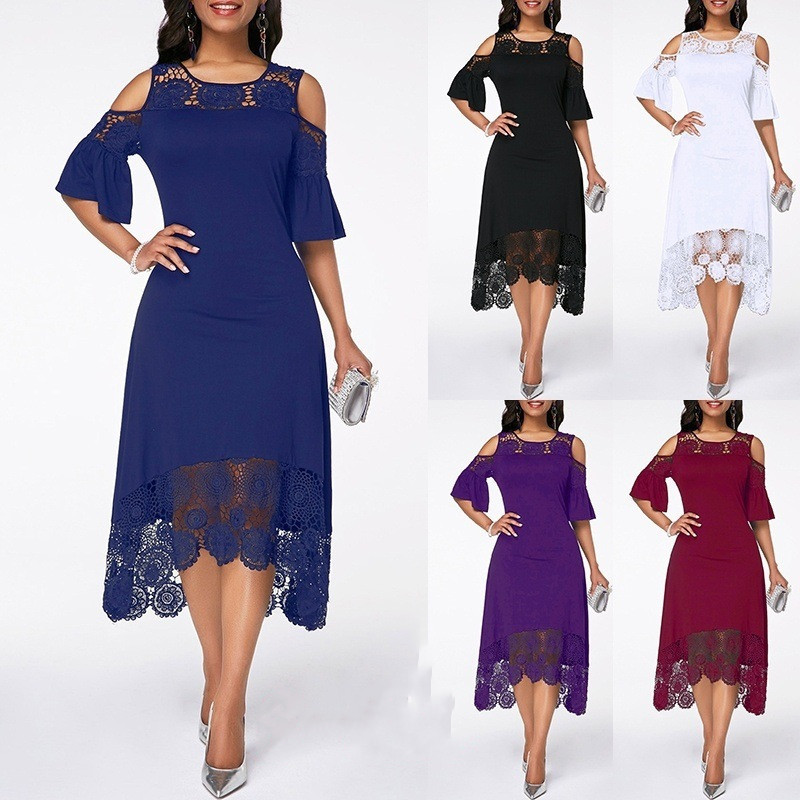 Wipalo Plus Size Women Elegant Party Dress Summer Lace Short Sleeve O Neck Cold Shoulder Irregular Casual Dress S-5XL Vestidos