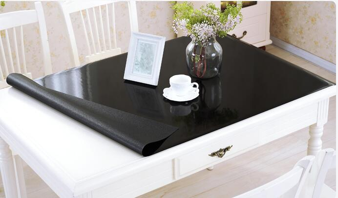 1.5mm waterproof oilproof table cloth Soft Glass square black PVC Tablecloth Wedding dining table mat transparent tablecover