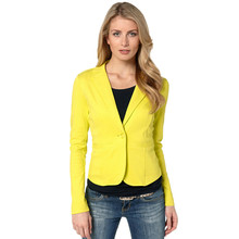 2018 Ladies Yellow Blazer Feminino Formal Jacket Women's White Blaser Rosa Female Blue Women Suit Office Ladies