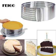 FEIGO 1 Pcs Stainless Steel Cake Layered Slicer Adjustable Retractable Circular Mousse Ring Cut Tool Round Cutter F448