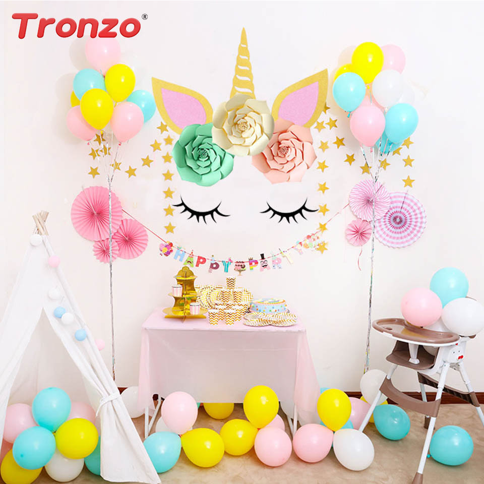 Tronzo DIY Unicorn Horn Eyelashes Unicorn Party Colorful Flower Unicorn Horn Eyelash Birthday Party Decorations Kids Wall Decor