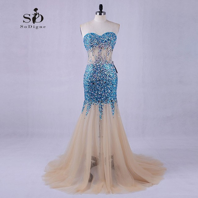 7efe1c2ae4d1 SoDigne Blue Crystals Mermaid Prom Dresses Formal Gowns Sweetheart Long  Dresses for weddings Evening Gowns for women