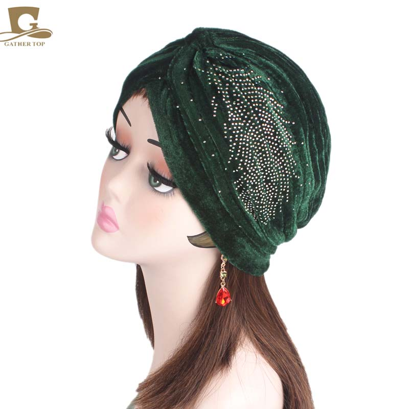 5e0a6685dc9 New Fashion Women Luxury Velvet Turban Rhinestoned Ruffle Turban Hair Cap  Turbante Hat Women Hijab Headwear