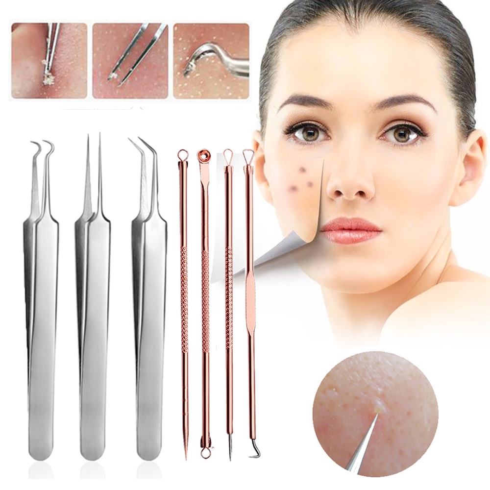7PCS Blackhead Extractor De Cravo Acne Remover Black Dots Tweezer Needles Set Makeup Tools Black Spots Blemish Comedone Remover