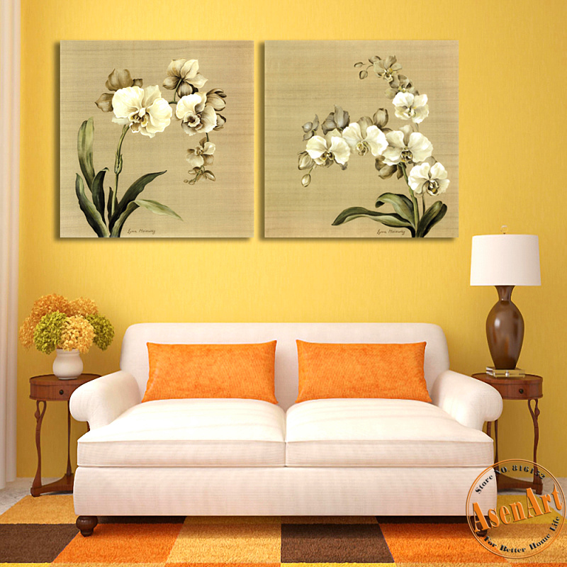 2 Pcs Butterfly Orchid White Flower Canvas Painting For