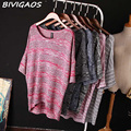 2016 New Spring Summer Loose Plus Size Bat Sleeve T-shirt Women's O-Neck T Shirt Striped Casual Knitwear Tops For Women Blusas