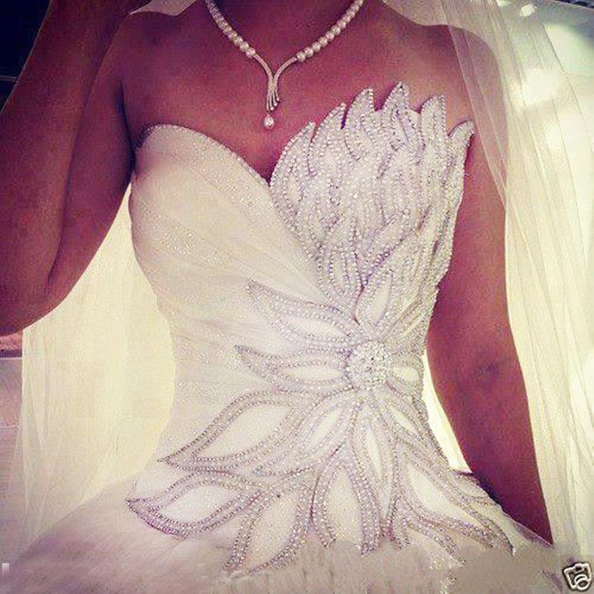 Vestido De Noiva Princess Wedding Dress 2019 Sweetheart Beads Crystal Tulle Wedding Gown Bride Dress Bridal Gown Robe De Mariee