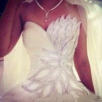Vestido de Noiva White Princess Wedding Dress 2020 Sweetheart Beads Crystal Wedding Gown Bride Dress Bridal Gown Robe De Mariee