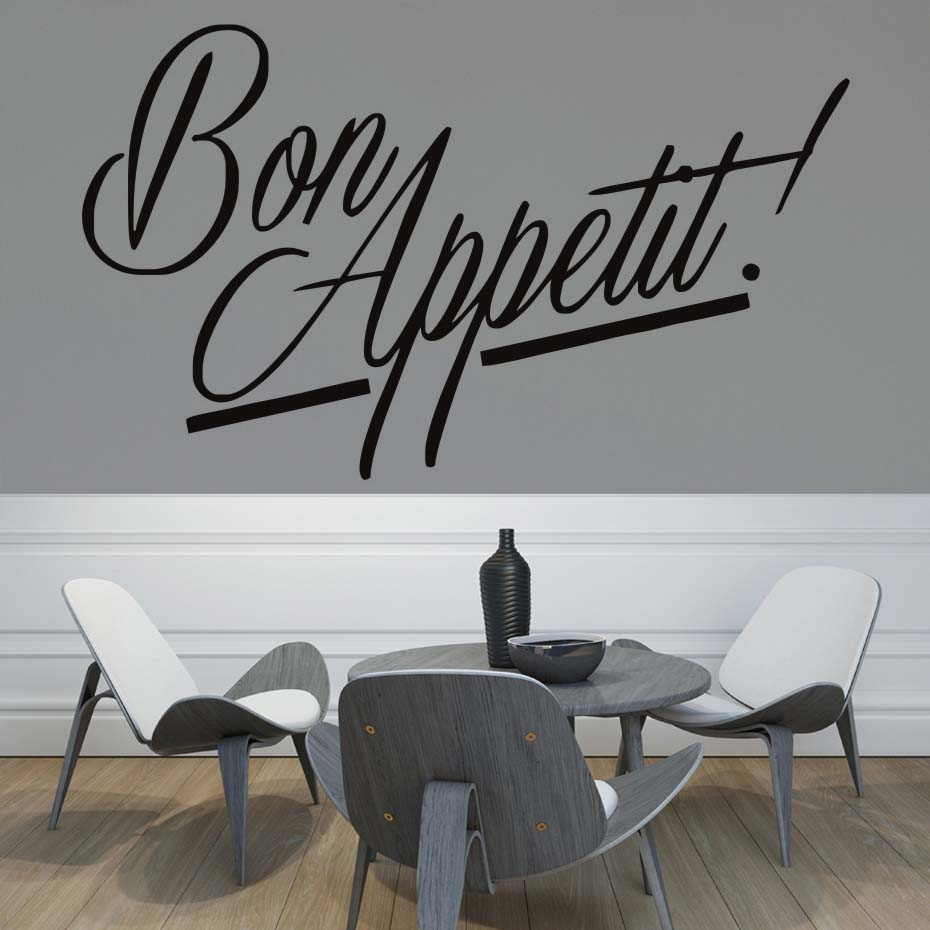Bon Appetit Quote Kitchen Cook Wall Decals Art Dining Room Removable Decals  DIY Wallpaper Mural Vinyl Stickers Home Decor In Wall Stickers From Home ...