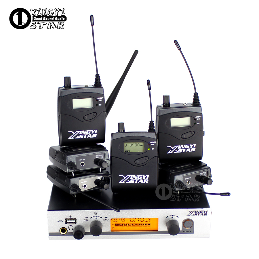 In Ear Monitor Wireless System Six Bodypack Receiver Professional Stage UHF Cordless One USB Transmitter Monitoring in Earphone