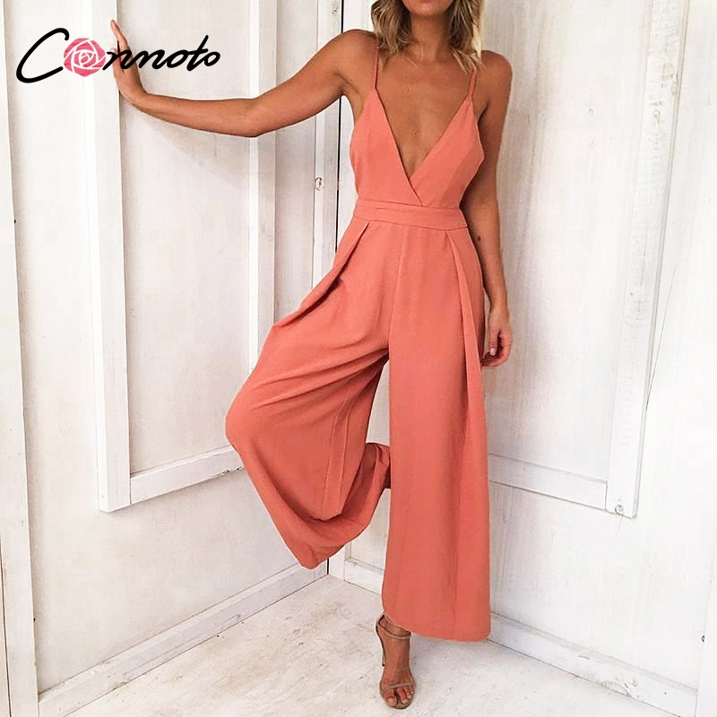 Conmoto 2019 Summer Women Sexy V Neck Spaghetti Strap   Jumpsuit   Backless Lace up Long Rompers Female High Waist Wide Leg   Jumpsuit