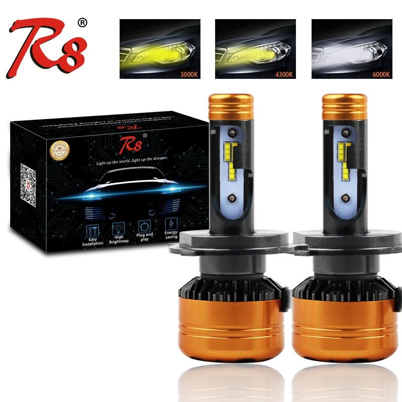 R8 New Arrival H4 9007 H13 H7 H1 Auto LED Headlight Conversion Kit Tricolor 6000K 3000K 4300K 50W 5800LM Yellow White Dual Color