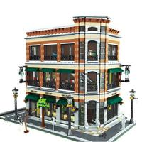 LEPIN 15017 4616Pcs City Street Starbucks Bookstore Cafe Model Building Kits Blocks Bricks Toy For Children