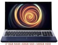 Оригинальный deeq ноутбуки 8 ГБ DDR3 + 60 ГБ SSD + 500 ГБ HDD Intel Core i7 игровой ноутбук Тетрадь компьютер с DVD RW Украина