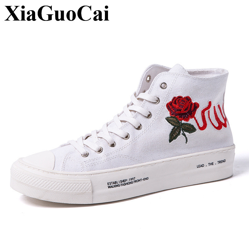 new men high top canvas shoes with floral decor breathable lace up platform flat causal shoes retrp stylish white black skate ...