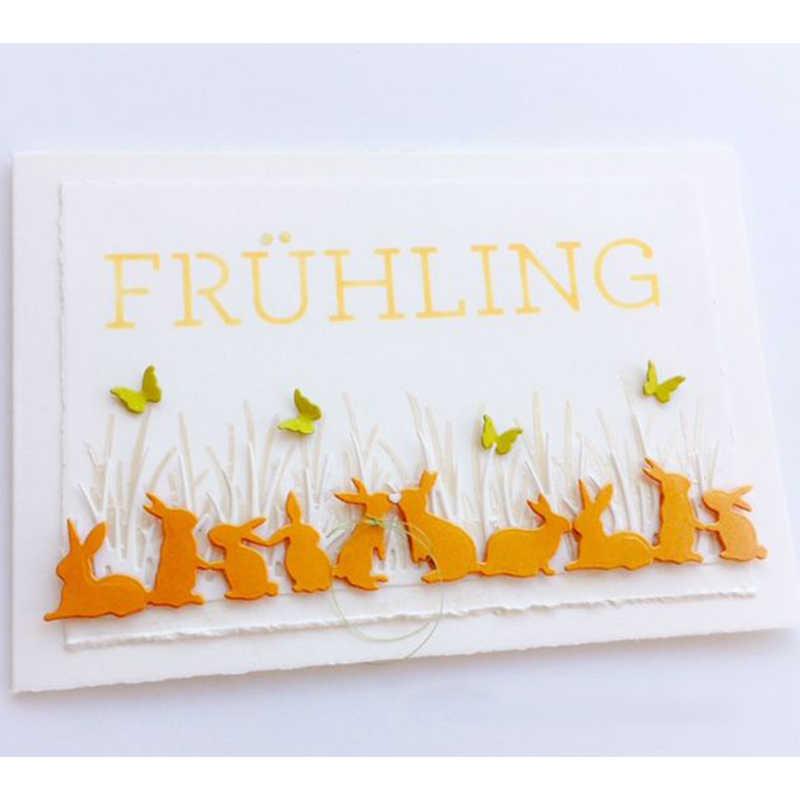 Easter Bunny ตัดโลหะตาย Stencil สำหรับ DIY Scrapbooking ตกแต่งลายนูนชุดกระดาษการ์ด Die ตัดแม่แบบ Handmade
