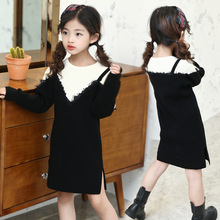 Weixu Kids Girls Swearter Dress 2017 Fashion Black Long Sleeve Lace Pullover Knitted Sweaters Child Autumn Winter Warm Clothes 3 11t girls knitted dresses long sleeve letter print pullover dress child striped kids dress winter autumn casual clothes ca220