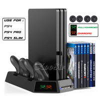 PS4 Slim Pro Vertical Cooling Fan Stand Play Station 4 Game Discs Holder Bracket PS 4 Controller Charging Dock Station + 4 Caps