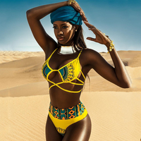 דאשיקי אפריקאי הדפסת בגד ים גבוה מותן ביקיני 2017 צלב תחבושת בגד ים ברזילאי בגדי ים לנשים ביקיני חוטיני בתוספת גודל
