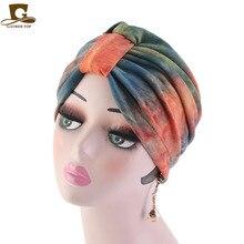 New modal 100% cotton Ruffle Knot Turban Hat Bandana Scarf Cancer Chemotherapy Chemo Beanies Headwrap Caps Sleep Cap for women