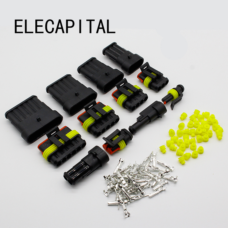5 Kits Flame retardancy 1P 2P 3P 4P 5P 6P way Sealed waterproof automotive Wire Connector Plug Car Motorcycle HID auto connector 2 3 4 6 pin 2 3 4 6 way sealed waterproof automotive marine electrical wire connector plug set car truck kit