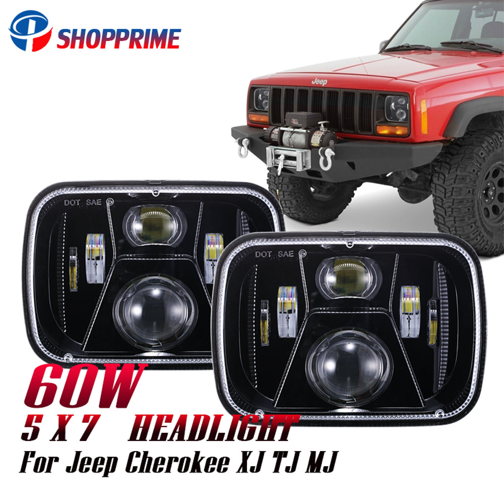 5x7 Inch H4 High Low LED Driving Light 7X6 inch Rectangular Sealed Beam Headlight for Ford E-250 Van Jeep Cherokee XJ YJ Truck 105w 5x7 7x6 inch rectangular sealed