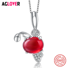 Crystal Pendant Necklace Woman 925 Sterling Silver 18 inches Box Chain Female Charm Jewelry