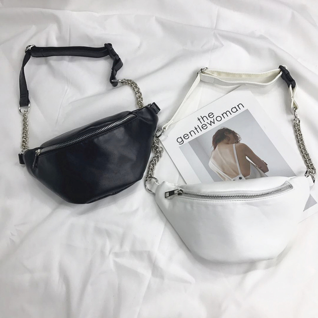 New Fashion Chain Women Leather Chest Bags Fanny Pack Belt Shoulder Bag Female Phone Pouch Mini Waist Pack Messenger Bolsa