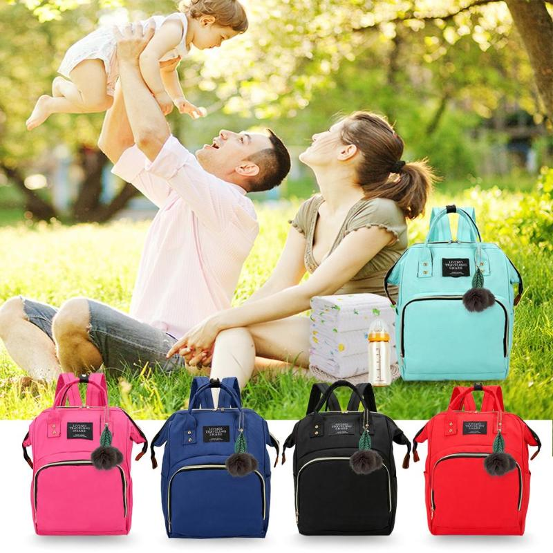 Solid Color Mommy Travel Shoulder Backpacks Large Capacity Maternity Nappy Bags Leaf Ball Pendant Baby Care Nursing Diaper Bags