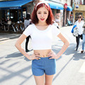 E126 2015 primavera verano mujeres clothing crop recortada tops halter cintura de manga corta de tocar fondo
