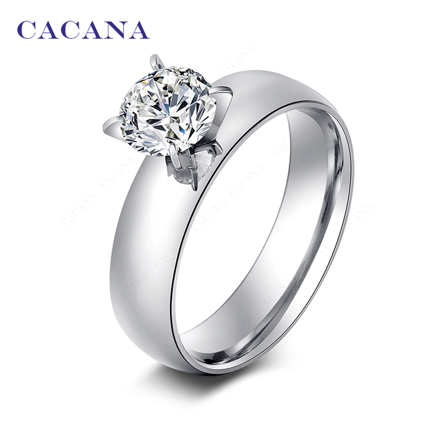 CACANA Titanium Stainless Steel Rings For Women With Shining CZ Smooth Fashion J