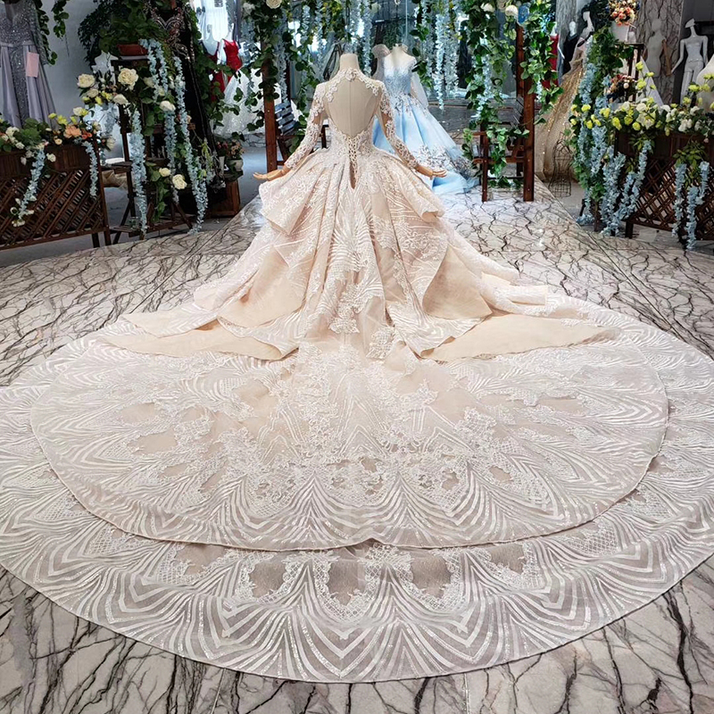 Image 2 - HTL433 long sleeves lace wedding dresses with train v neck open back puffy ruffle wedding gowns heavy handwork robe de mariee-in Wedding Dresses from Weddings & Events