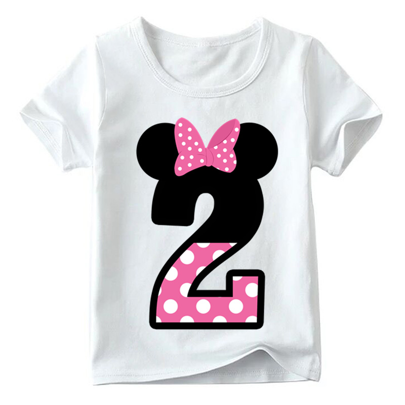 Baby Boys/Girls Happy Birthday Letter Bow Cute Print Clothes Children Funny T shirt,Kids Number 1-9 Birthday Present,HKP2416 8