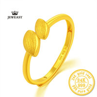 ZZZ 24k Pure Gold Leaves Shining And Bright Forever Solid 999 Real Adjust Female Rings Party Classic Yellow Golds 2017 New