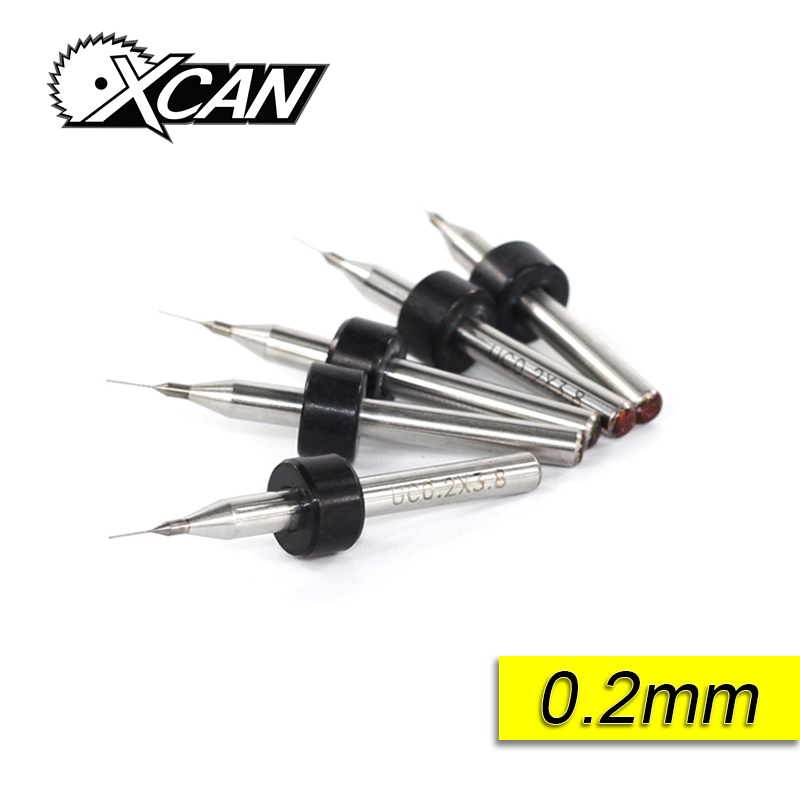 XCAN 10pcs/set 0.2mm  PCB mini drill Bit tungsten steel carbide for print circuit board cnc drill Bits Machine tx 10pcs tungsten carbide drill bit tool set for metal 0 8mm cnc circuit board engraving instruments mini pcb drill bits kit