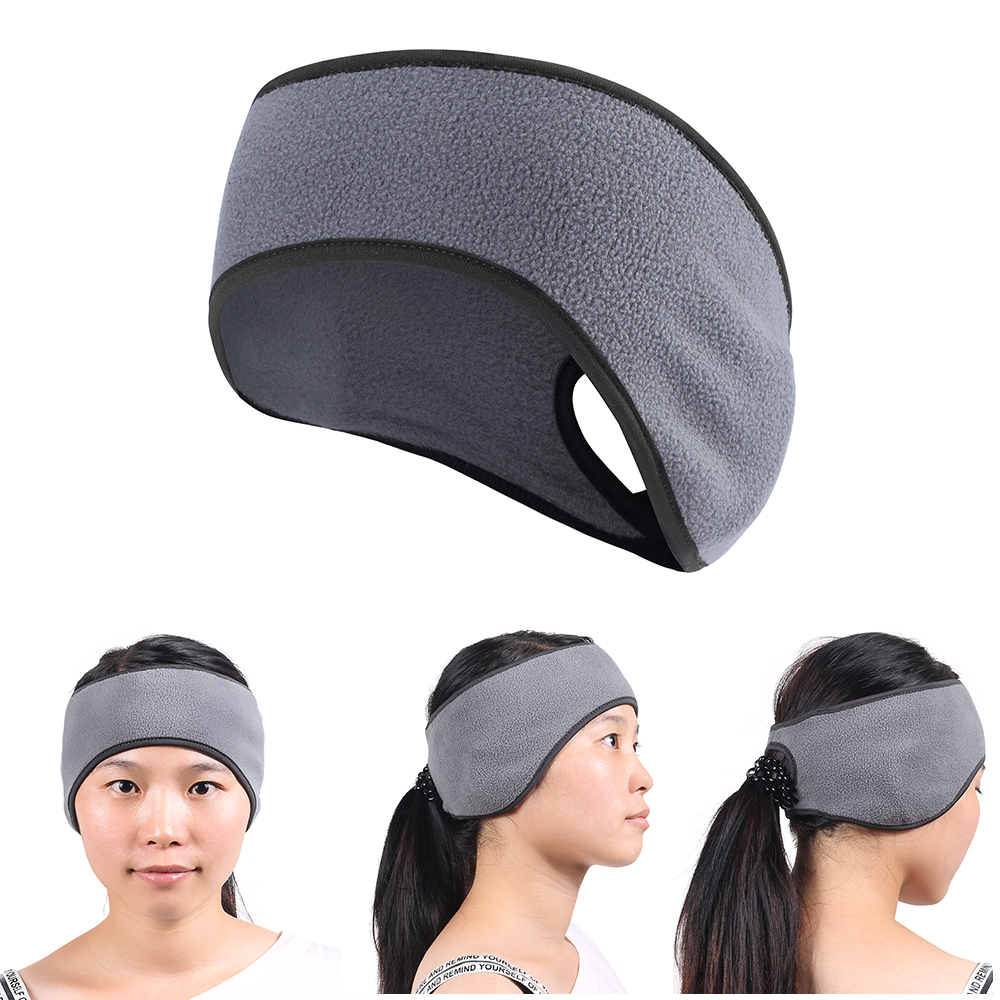 Winter Polar Fleece Warmer Headband Hairband Wide Sports Sweatband Ears Covered   Headwear   Hair Ponytail Hole Designed Girl Women